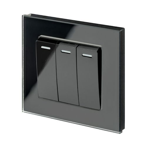 RetroTouch 3 Gang 1 or 2 Way 10A Rocker Light Switch Black Glass PG 00243